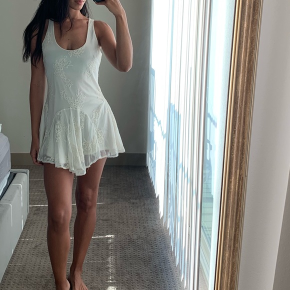 Dresses & Skirts - Mesh Ivory Dress with Lace Design